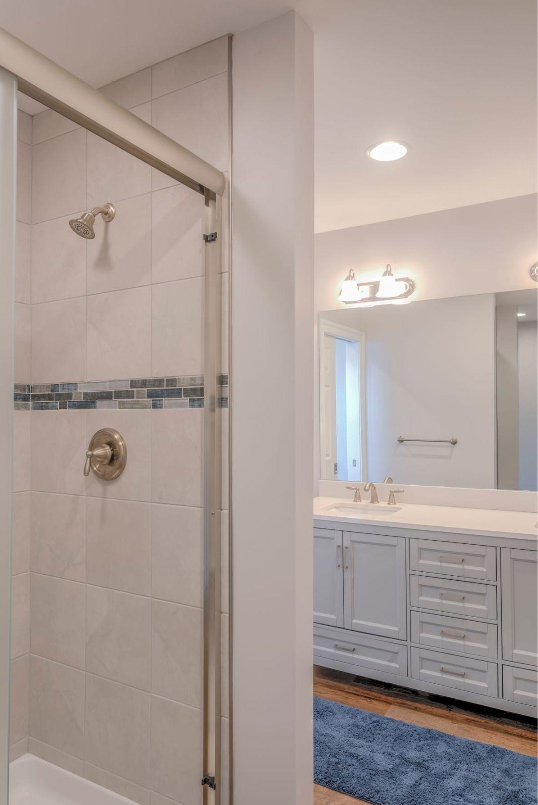 Bathroom Remodel in October Glory, Ocean View DE with Bevalo 12x12 Dove Tile