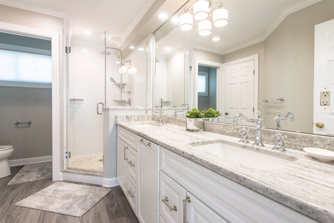 Bathroom Remodel in Pine Tree, Bethany Beach DE with Double Bowl Sink, New River White Granite Top and Full Length Mirror