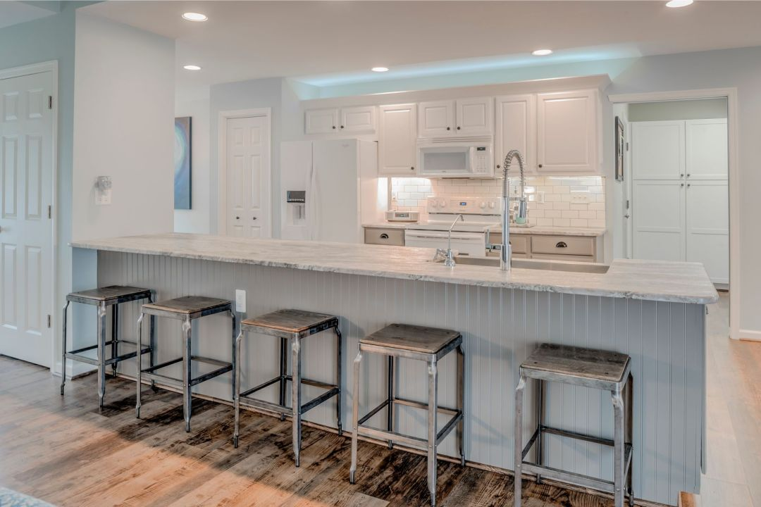 Kitchen Remodel in Velta Drive, Ocean View DE with Center Island and White Cabinets
