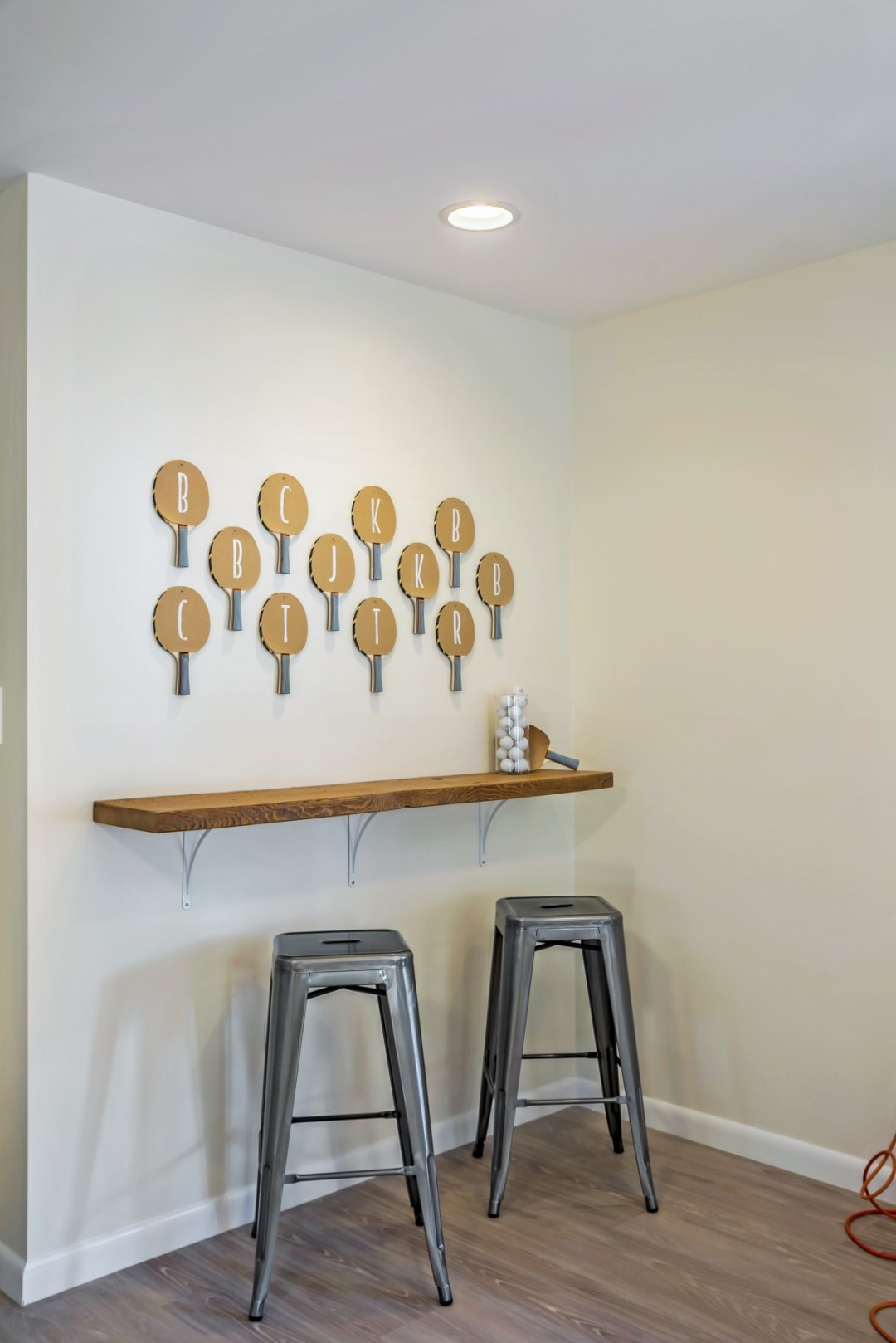 Table Tennis Wall with Personalized Ping Pong Paddles in Wellington Parkway, Bethany Beach DE Renovation