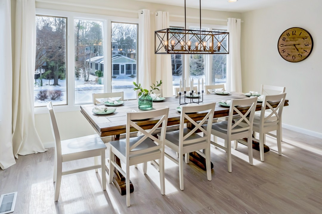 Window Side Dining Table and Large Wall Clock in Wellington Parkway, Bethany Beach DE Renovation