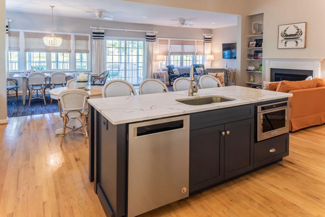 Kitchen Remodel in Willow Oak, Ocean View DE - Center Island and View Towards Great Room