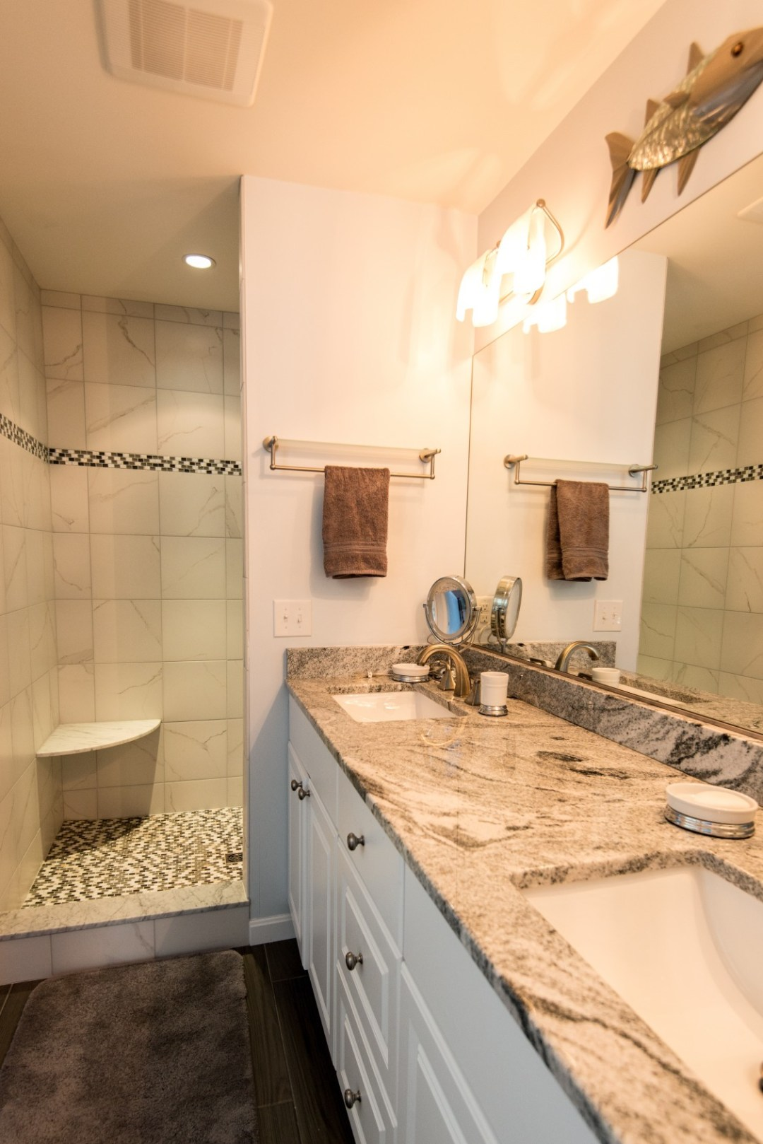 Willow Oak New Addition in Bear Trap Dunes, Ocean View DE Bathroom with Undermount Two Sinks and Granite Top Vanity