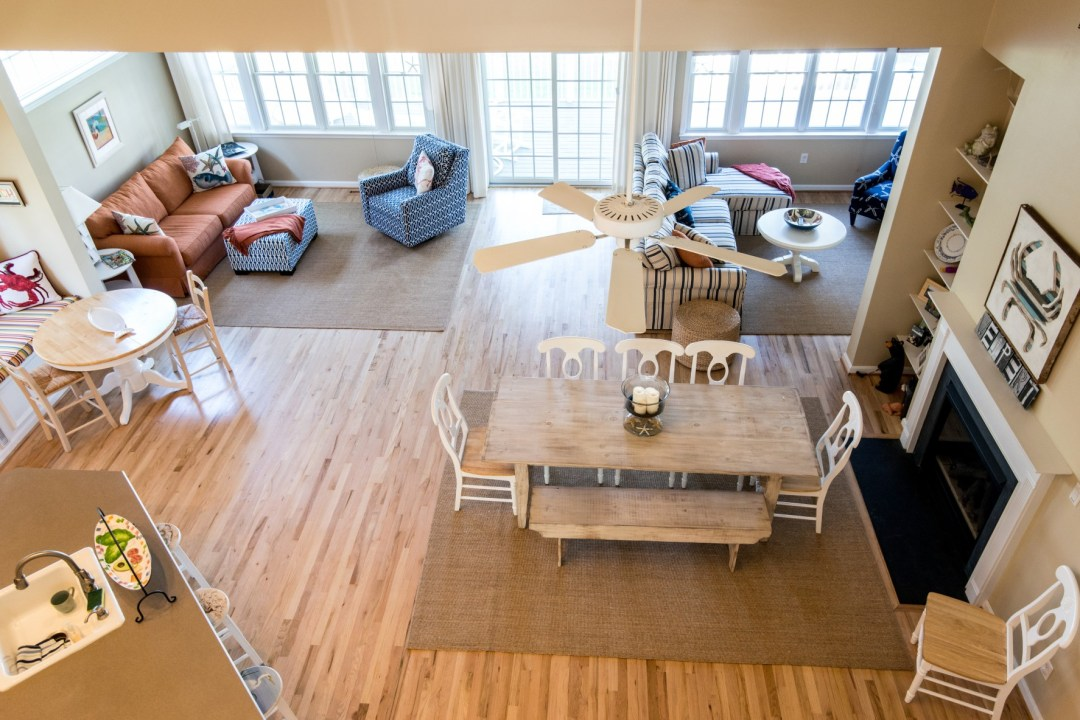 Willow Oak New Addition in Bear Trap Dunes, Ocean View DE Extended Family Room Top View with Fireplace, Ceiling Fan, Drywall