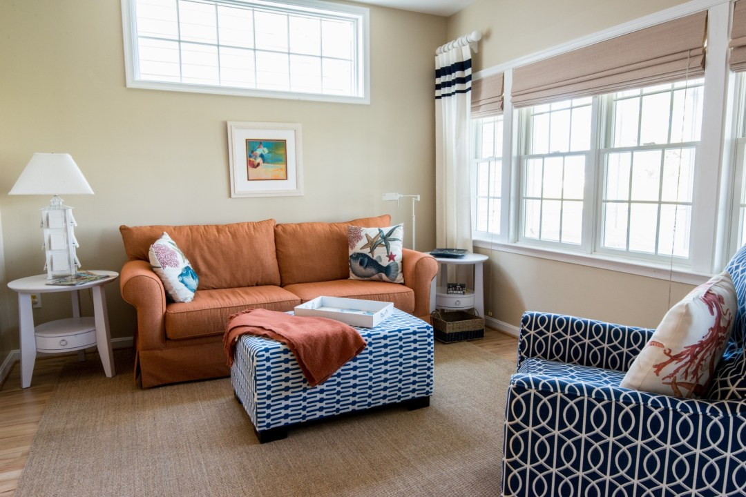 Willow Oak New Addition in Bear Trap Dunes, Ocean View DE Family Room Area with Sofa, Roman Shades and Drywall