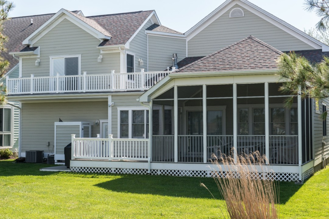 Willow Oak New Addition in Bear Trap Dunes, Ocean View DE Screen Porch with Railing and Shingles Roofing
