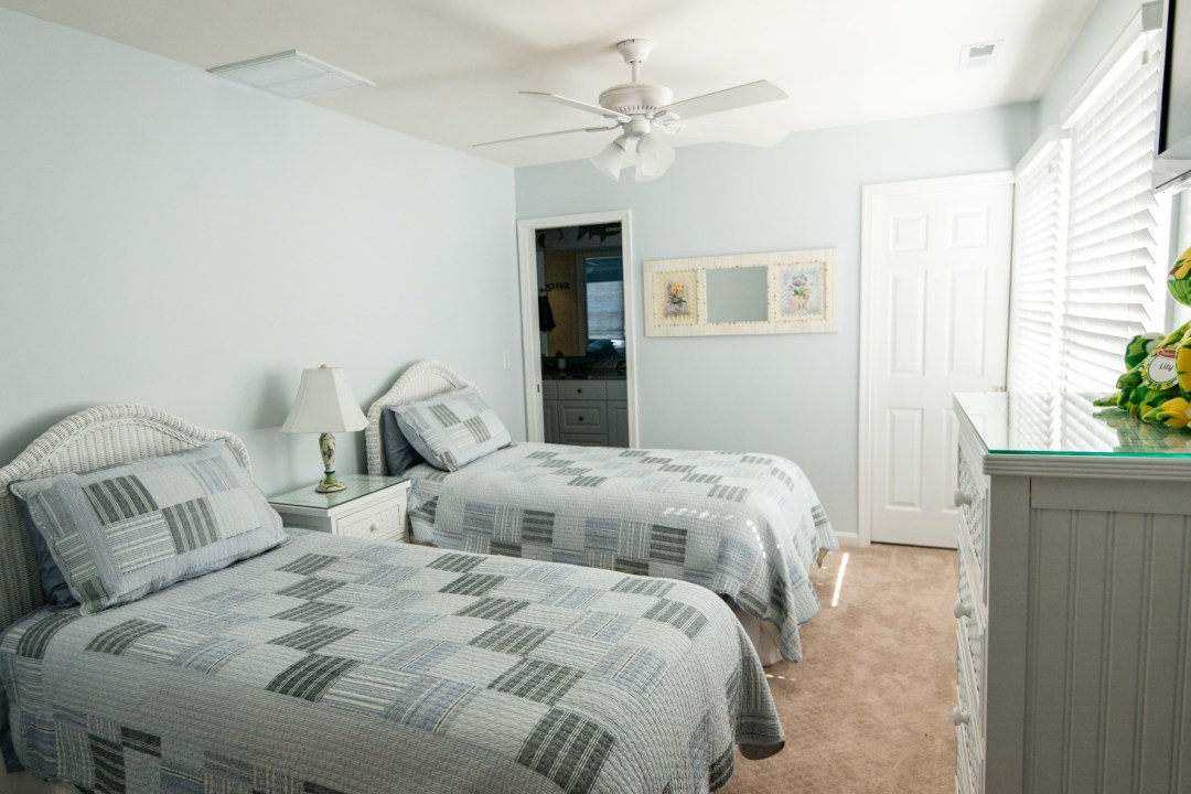 Willow Oak New Addition in Bear Trap Dunes, Ocean View DE Two Beds Guest Bedroom with Carpet and Sea Foam Painted Walls