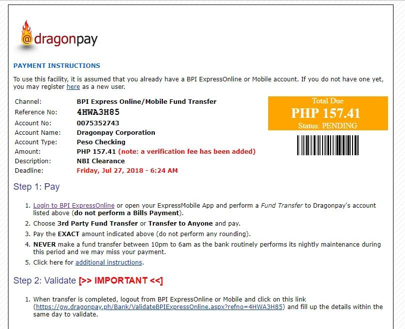 NBI Clearance Online Application - Pending payment thru Dragonpay
