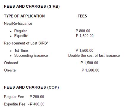 seaman's book renewal and application fees