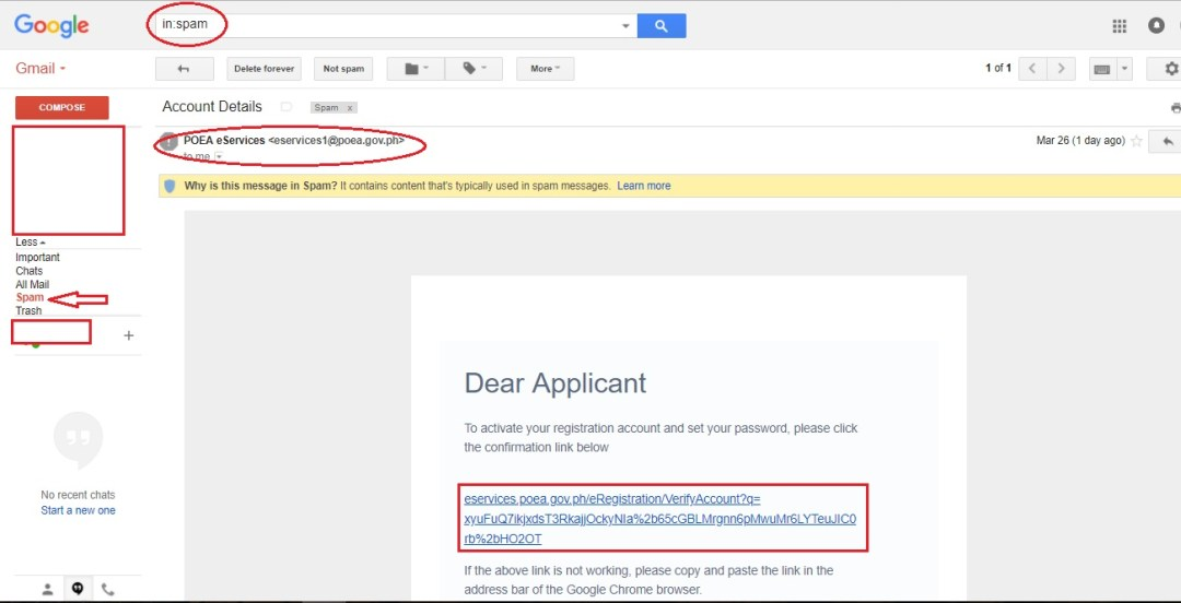 Email confirmation link in inbox