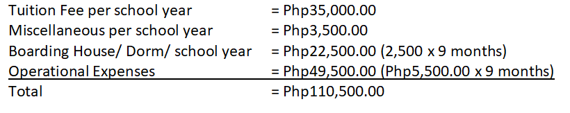 Tuition fees and school expenses for seaman