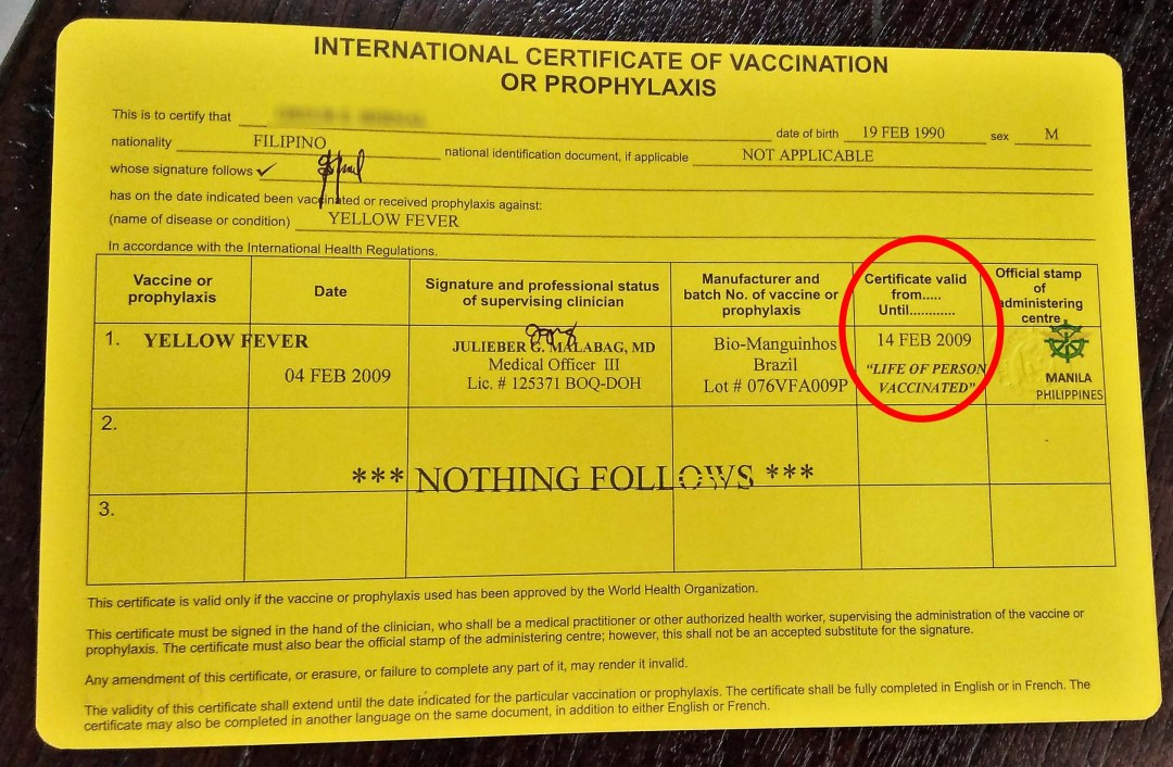 Yellow Fever Vaccination Certificate with Lifetime Validity