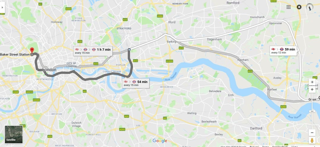 Travelling toLondong from Grays to Baker Street Station via Fenchurch or West Ham