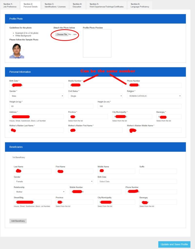 POEA e_registration sample. Section 2: Personal Details
