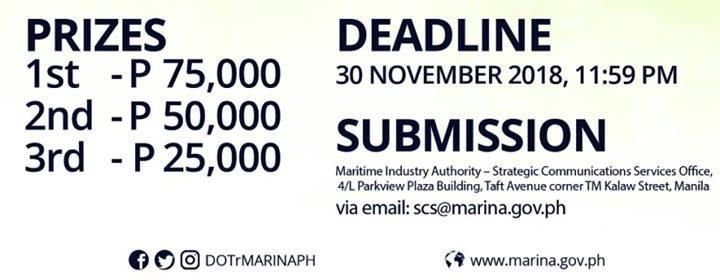 Prizes and Deadline. Ang Pambansang Marino Video Contest Prizes. MARINA 45th Anniversary.