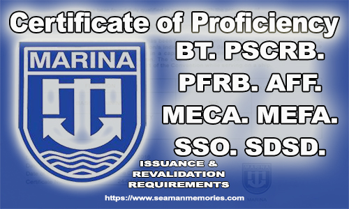 MARINA COP Requirements for BT, PSCRB, PFRB, AFF, MEFA, MECA SSO, SDSD, II/4, II/5, III/4 and III/5