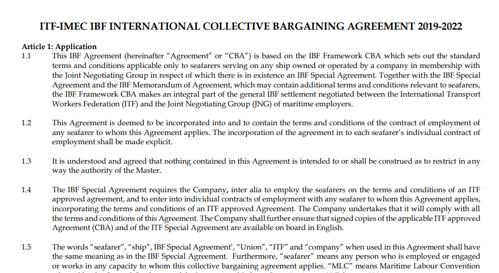 An example of Collective Bargaining Agreement