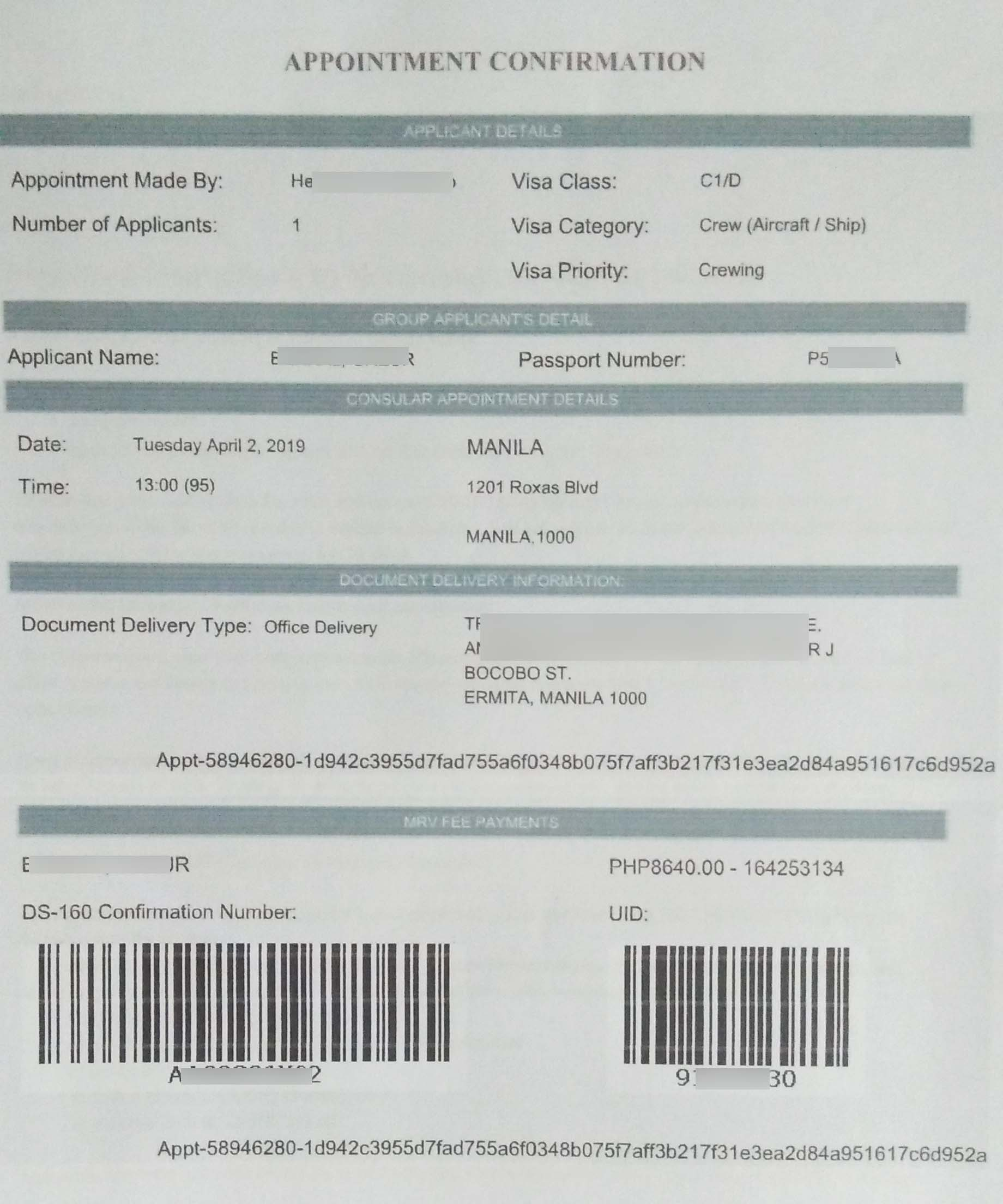 C1/D US visa application or renewal appointment confirmation