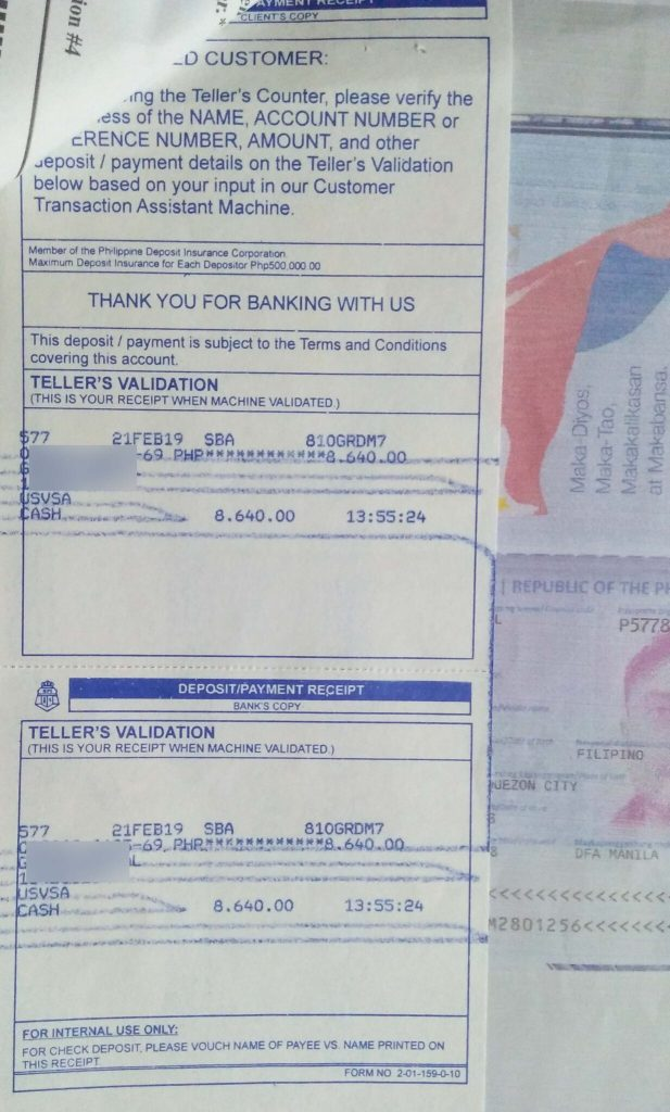 US Visa payment via BPI Bank Deposit