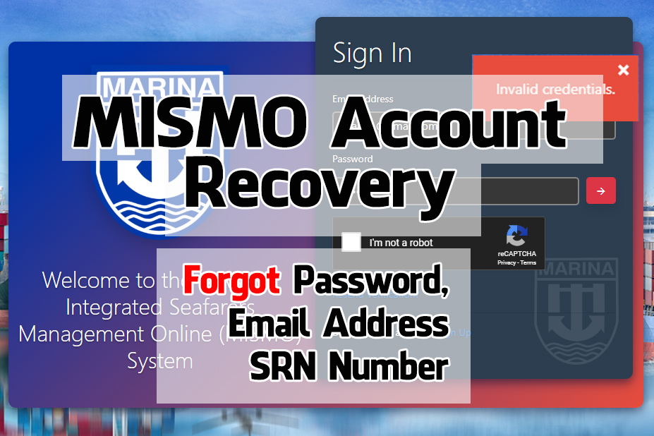 MISMO account recovery: lost password, email address and SRN number.