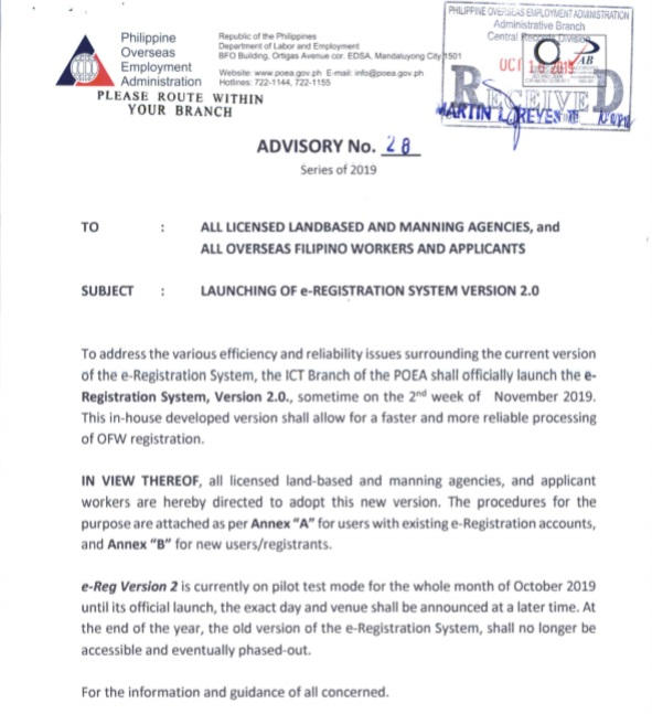 POEA version 2.0 eReg Advisory