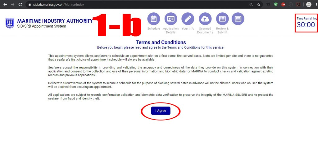 Terms and Conditions in using MARINA's website for SID/ SRB Application