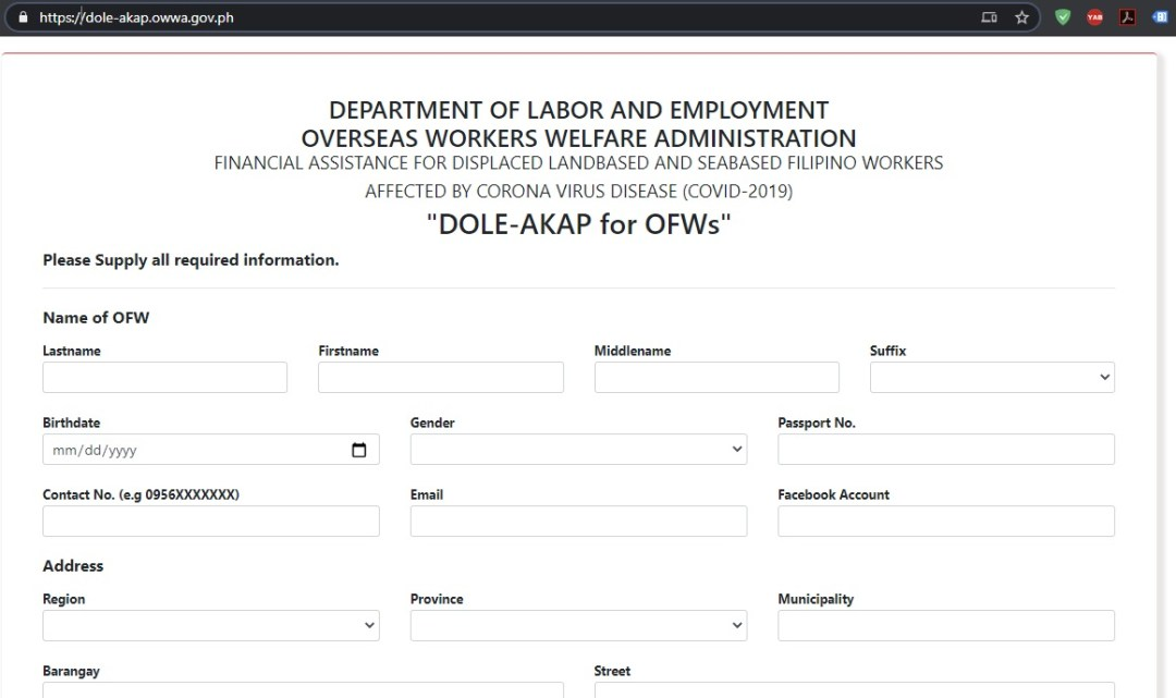 dole akap online form application and submission