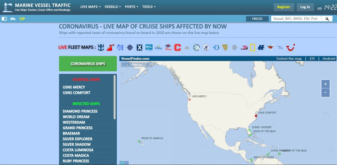 Marine Vessel Traffic showing hospital ships and ships infected with coronavirus