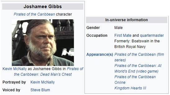 Master Gibbs. Former Bosun of the British Royal Navy