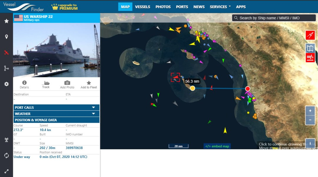 Tracking a warship with Vessel Finder. Measuring distance is also possible.