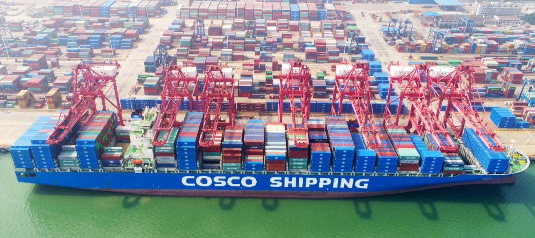 COSCO container ship docked in port