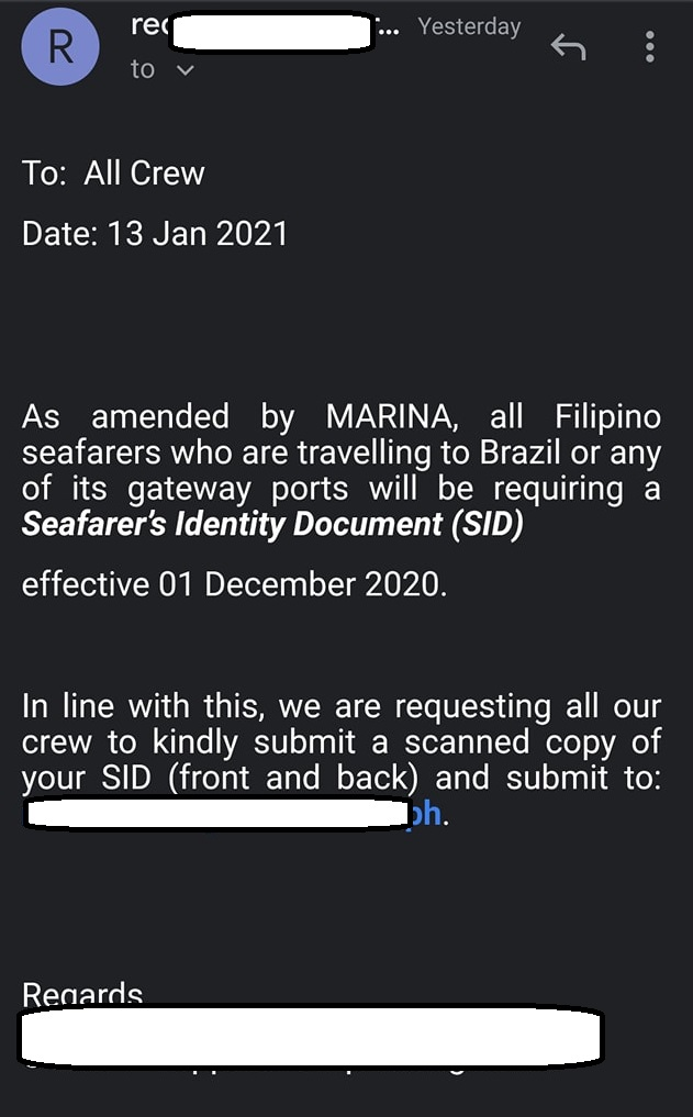 An email from a manning agency declaring SID as mandatory for their crew.