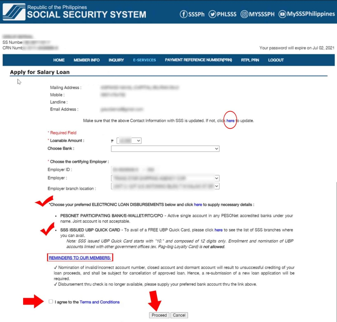 SSS Salary Loan Tab