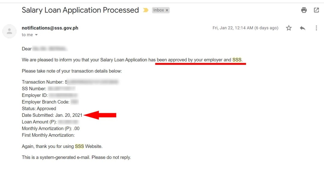 Salary Loan Application Processed