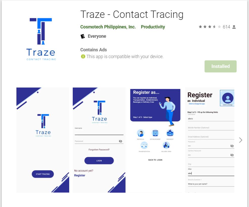 Traze Contact Tracing App
