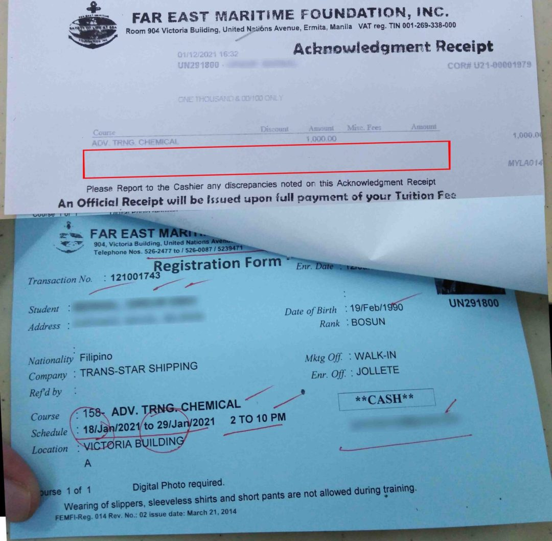 FEMFI Acknowledgement Receipt and Registration form