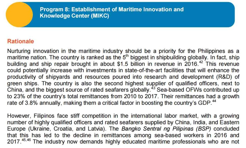 Program 8: Establishment of Maritime Innovation and Knowledge Center (MIKC)