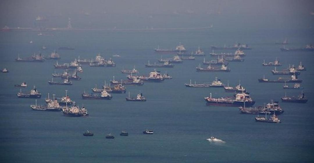Ships at Anchor in Singapore