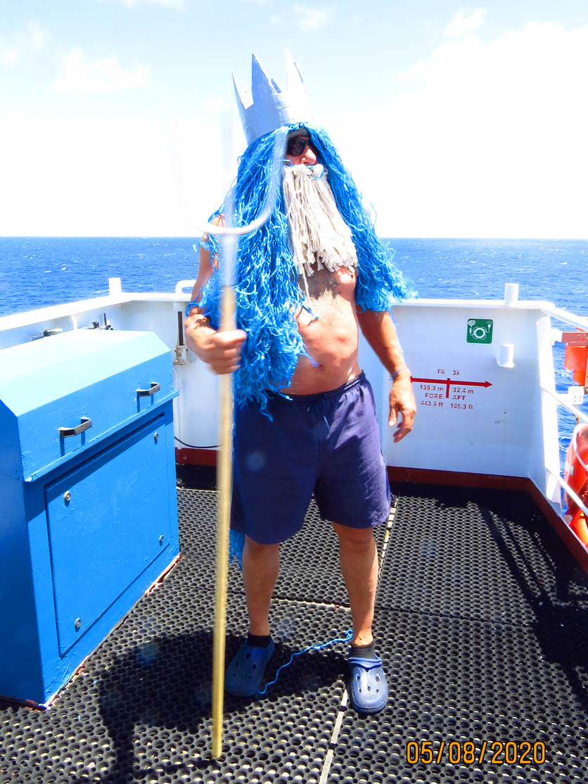 Poseidon with his Mighty Trident Appearing on the Starboard Wing for our Line Crossing Ceremony