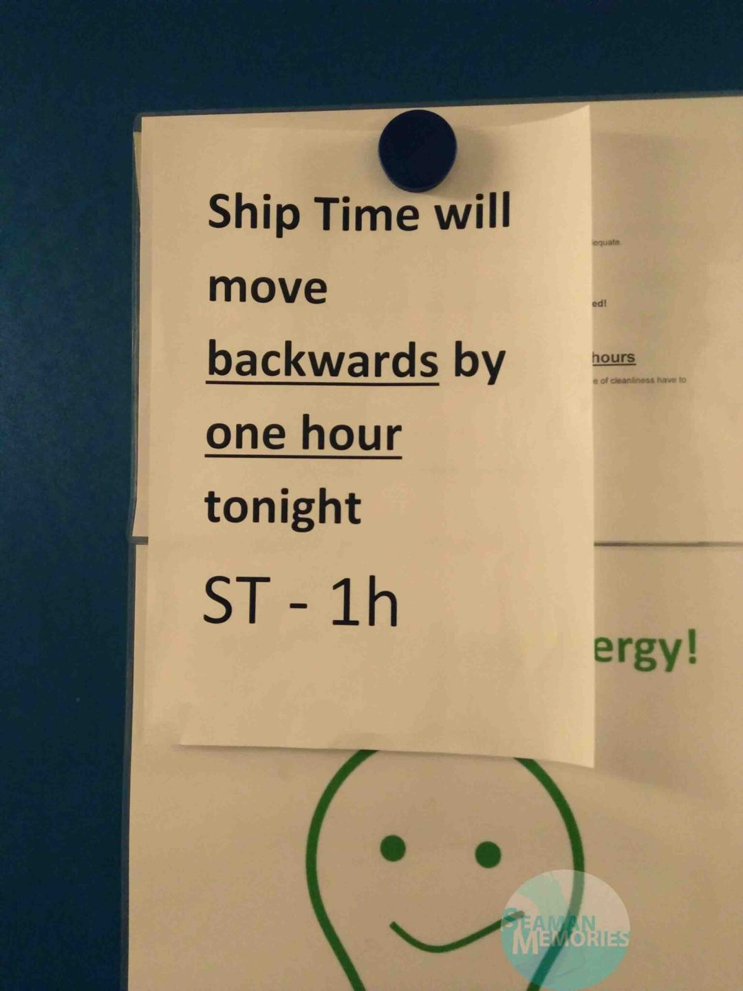 Ship time will move backwards by 1 hour tonight