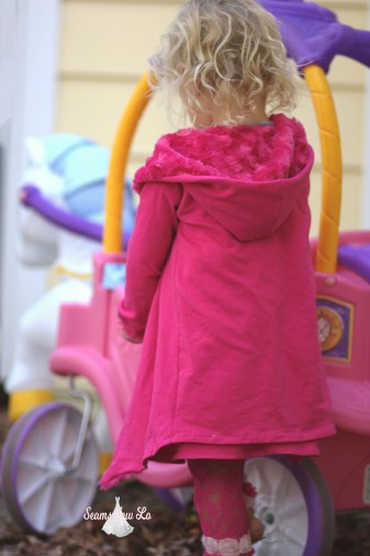 girls stay cozy jacket ellie and mac front french terry and minky pink fuchsia princess carriage