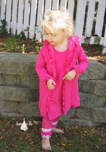 stay cozy jacket ellie and mac pink french terry and rosette minky girls