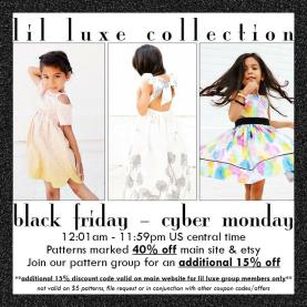 black friday sale lil luxe sewing patterns