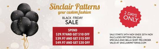 black friday sale sinclair sewing patterns