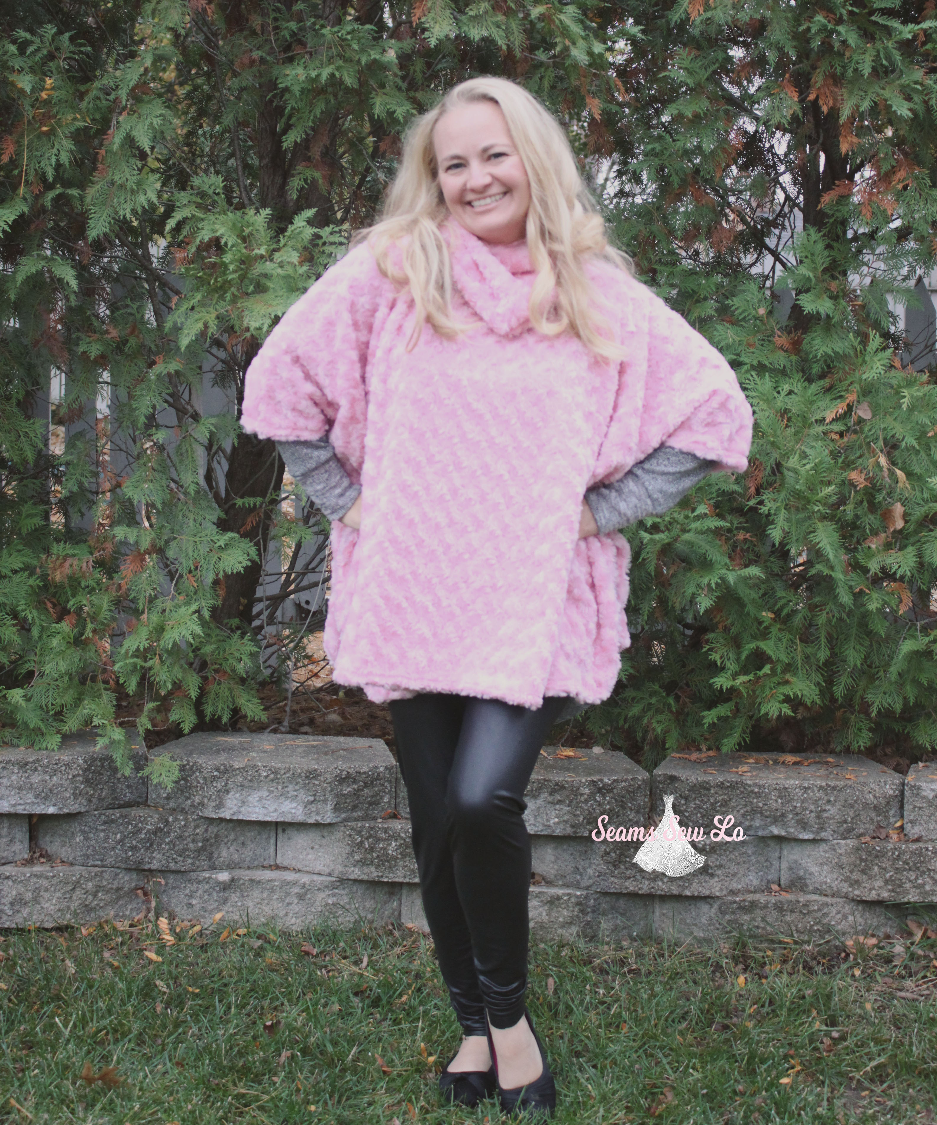 womens poncho sewing pattern pink minky fabric seamingly smitten 7