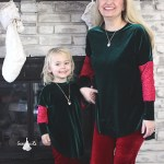 mommy and me christmas outfits velvet green and red sparkles 2