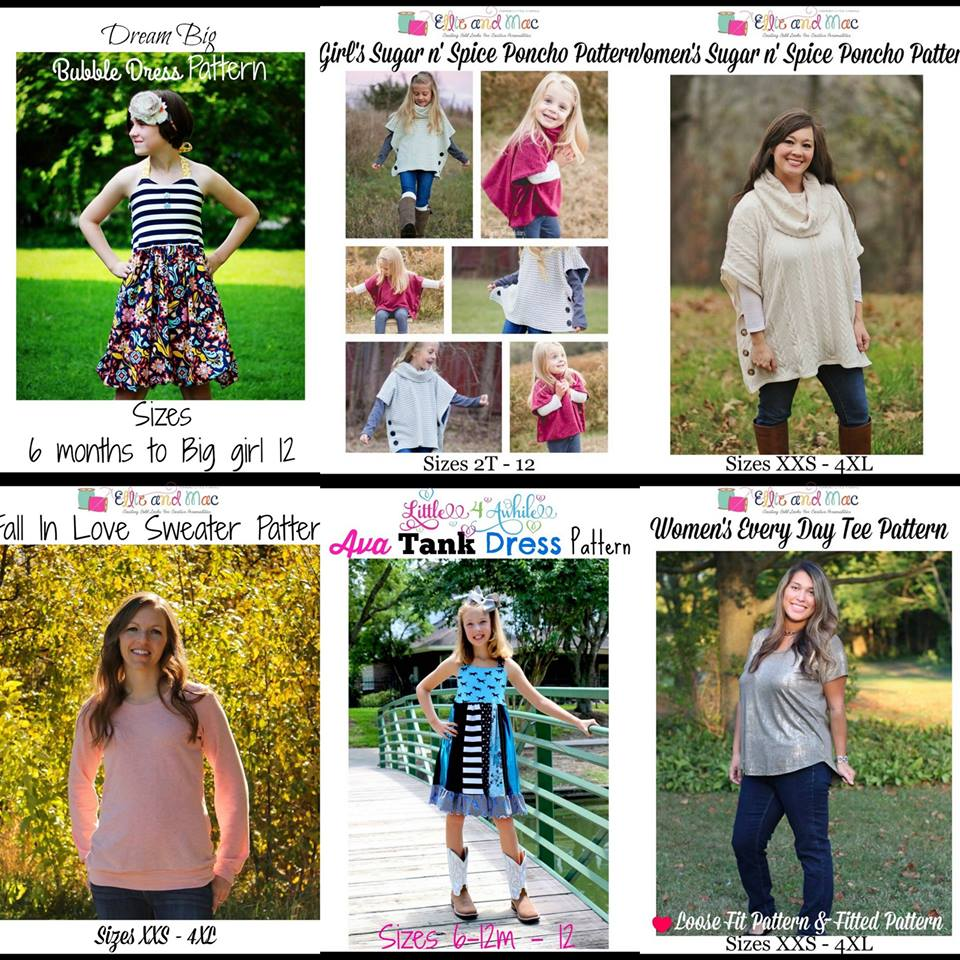 $1 Sewing Patterns Wacky Wednesday Deals at Ellie and Mac jan 31 18
