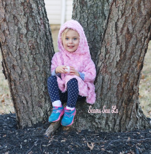 girls poncho sewing pattern in pink minky