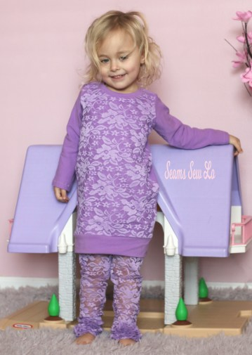 sewing lace overlays and leggings for girls