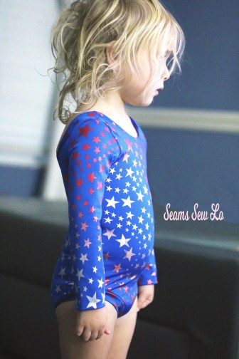 Ombre stars Juliet leotard sewing pattern red white and blue